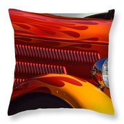 Red Orange And Yellow Hotrod Throw Pillow