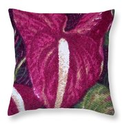 Red Orchid Print Throw Pillow