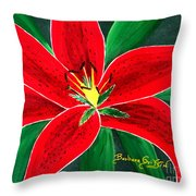 Red Oriental Daylily Throw Pillow