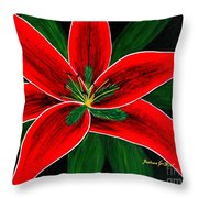 Red Oriental Lily Throw Pillow