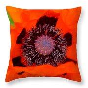 Red Oriental Poppy Throw Pillow