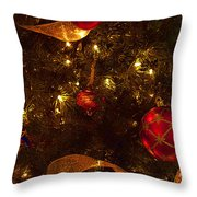 Red Ornament And Gold Ribbon Throw Pillow