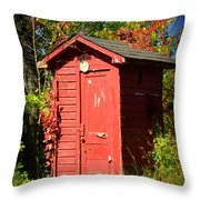 Red Outhouse Throw Pillow