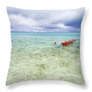 Red Outrigger Canoe Throw Pillow