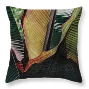 Red Palm Leaves Throw Pillow