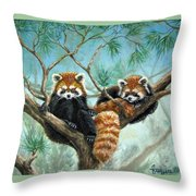Red Pandas Throw Pillow