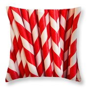 Red Paper Straws Throw Pillow