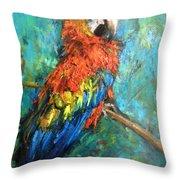 Red Parot Throw Pillow