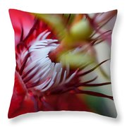 Red Passion Flower Stamens Throw Pillow
