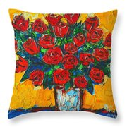 Red Passion Roses Throw Pillow by Ana Maria Edulescu