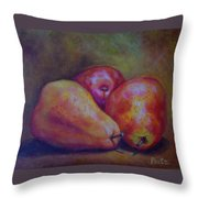 Red Pears Five Throw Pillow
