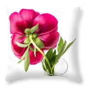 Red Peony Flower Back Throw Pillow