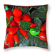 Red Pepper Plant Throw Pillow
