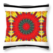 Red Peppered Sunshine - Abstract - Triptych Throw Pillow
