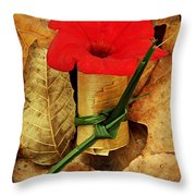 Red Petunia  Throw Pillow