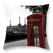 Battersea Power Station And The Red Phone Box Throw Pillow