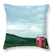 Red Phone Box On Rural Road Throw Pillow