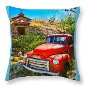 Red Pickup Truck At Santa Fe Throw Pillow