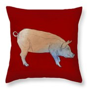 Red Pig Throw Pillow