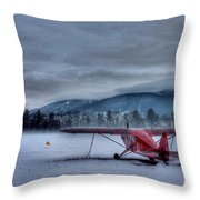 Red Plane In A Gathering Storm Throw Pillow
