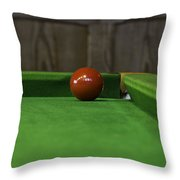 Red Pool Ball On A Pool Table Throw Pillow