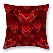 Red Pop Art Hearts Throw Pillow