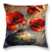 Red Poppies 02 Throw Pillow