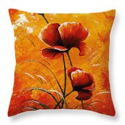 Red Poppies 023 Throw Pillow