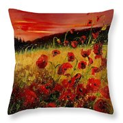 Red Poppies And Sunset Throw Pillow