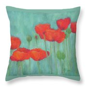 Red Poppies Colorful Poppy Flowers Original Art Floral Garden  Throw Pillow