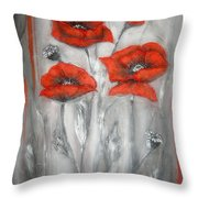 Red Poppies In Silver Dream Throw Pillow by Elena  Constantinescu