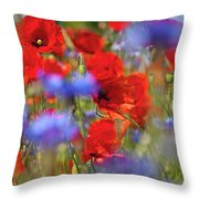 Red Poppies In The Maedow Throw Pillow