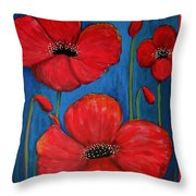 Red Poppies On Blue Throw Pillow