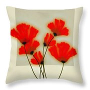 Red Poppies On Gray - Abstract Flower Art Throw Pillow