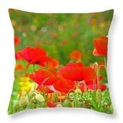 Red Poppy Flowers Meadow Art Prints Throw Pillow