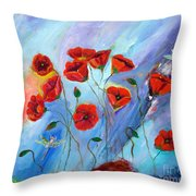 Red Poppy With Dragonfly Throw Pillow