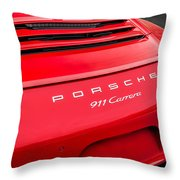 Red Porsche 911 Detail E183 Throw Pillow
