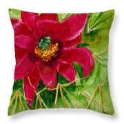 Red Prickly Pear Throw Pillow