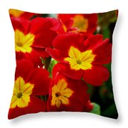Red Primroses Throw Pillow