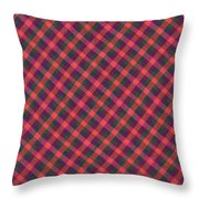 Red Purple And Green Diagonal Plaid Textile Background Throw Pillow