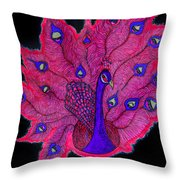 Red - Purple Peacock Throw Pillow