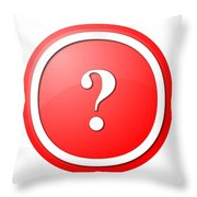 Red Question Mark Round Button Throw Pillow