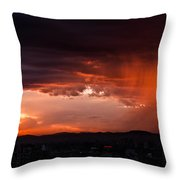 Red Rain Over Tana Throw Pillow