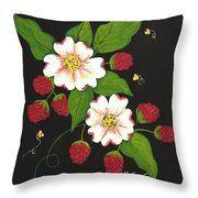 Red Raspberries And Dogwood Flowers Throw Pillow