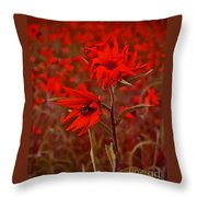 Red Red Wild Flowers Throw Pillow