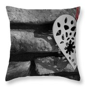 Red Ribbon Heart Throw Pillow