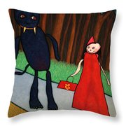 Red Ridinghood Throw Pillow by James W Johnson