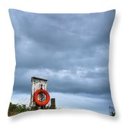 Red Ring Life Preserver Hanging Throw Pillow