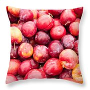 Red Ripe Plums Throw Pillow