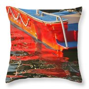 Red Rippling Throw Pillow
